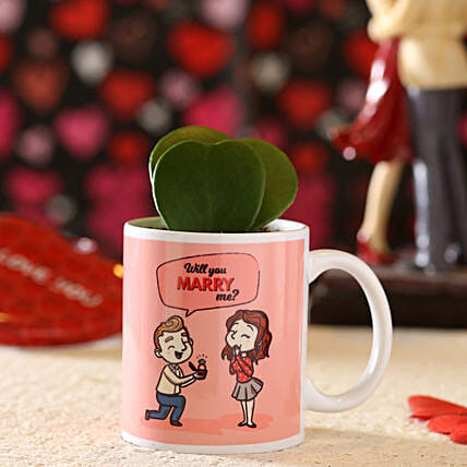 hoya plant in printed mug for her