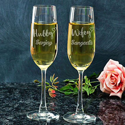 Personalised Champagne Glasses For Husband Wife