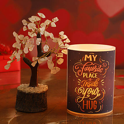 Hug Day Special Hollow Candle Rose Quartz Wish Tree