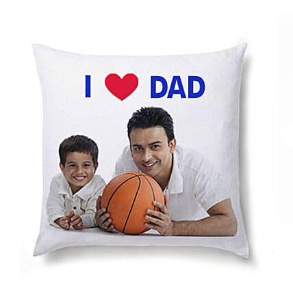 I Love Dad Personalized Cushion-White Personalized Cushion 12X12 inches,I Love Dad message on it