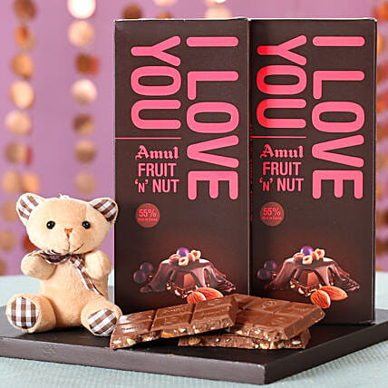 Online I Love You Amul Chocolates & Teddy:Soft toys for Propose Day