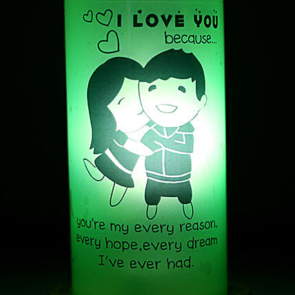 I Love You Because Lamp-one green bottle lamp coloured I love you