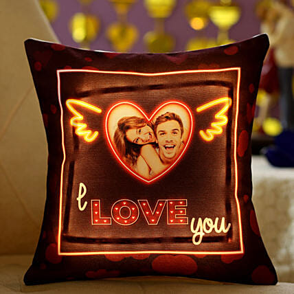 I Love You Bright LED Personalised Cushion