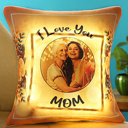 I Love You Mom Personalised LED Cushion