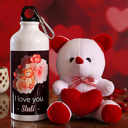 I Love You Personalised Bottle and Teddy Hand Delivery:Soft Toys For Teddy Day