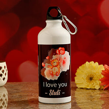 valentines theme water bottle