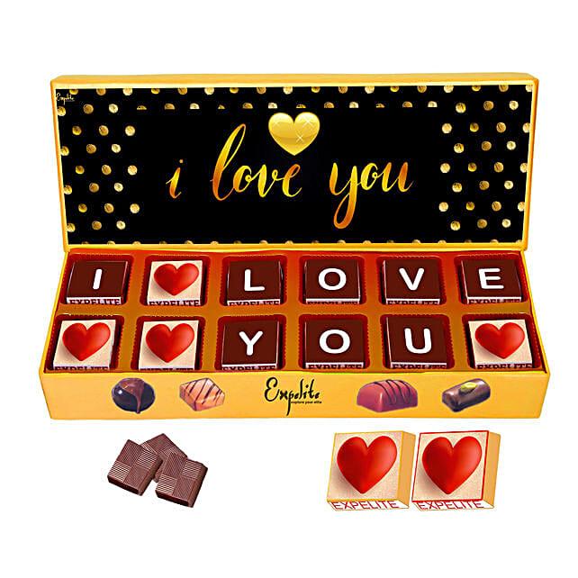 I love You Personalised Chocolate Gift Box 12 Pcs