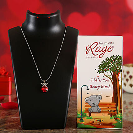 I Miss You Chocolate & Bright Red Necklace Online