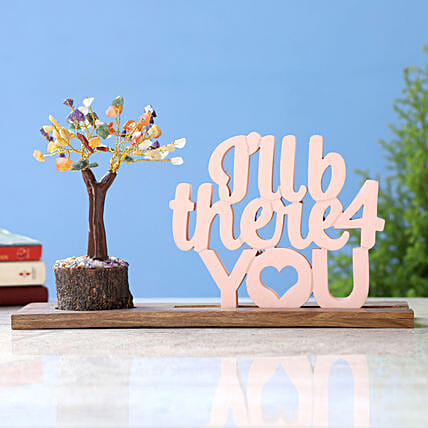 I Will B There 4 You Table Top and Multicoloured Stone Wish Tree