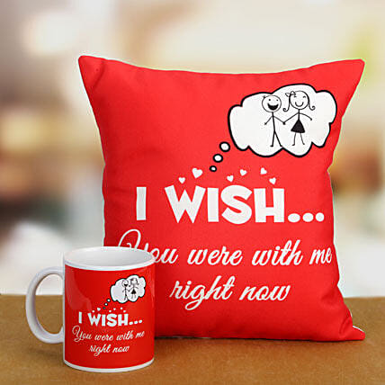I Wish Combo-red mug and a 12x12 miss you cushion:Send Miss You Gifts