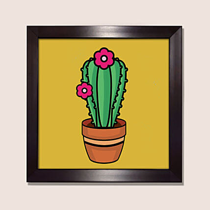 Illustrated Style Cactus Painting