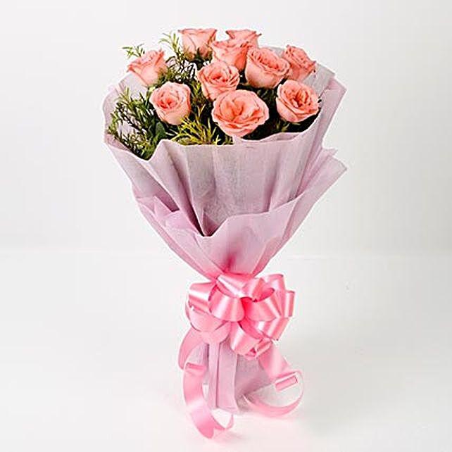 Impressive 10 Pink Roses Bouquet