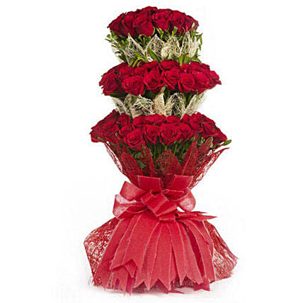 Indulge Her - 3 Layer 100 red roses bouquet with jute packing.