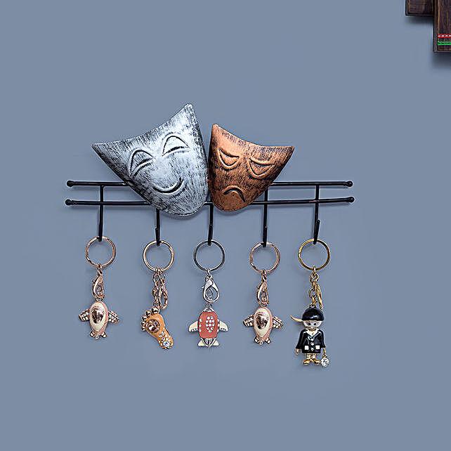 Iron Happy Sad Face Style Wall Hanging Key Holder