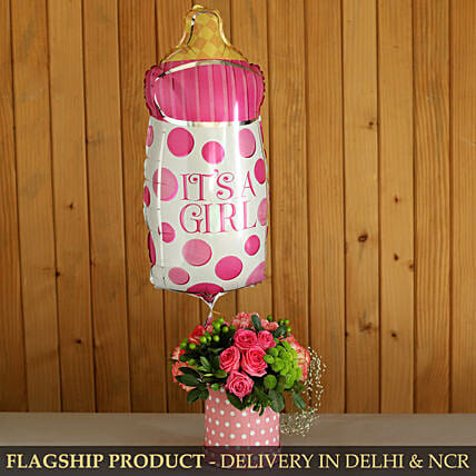 It s A Girl Foil Balloon And Mixed Flowers Lovely Arrangement