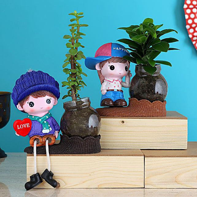 Jade Ficus Compacta Plant Combo In Cute Cap Girl Vases