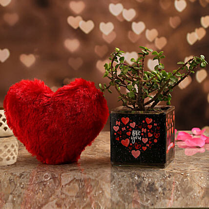 Jade Plant In Love You Always Vase & Red Heart:Send Soft toys to Hyderabad