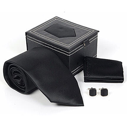 Mens Black Ties Set:Tie and Cufflinks