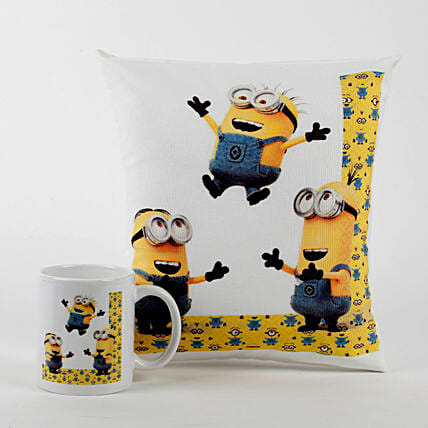 Jumping Minions Cushion with Mug