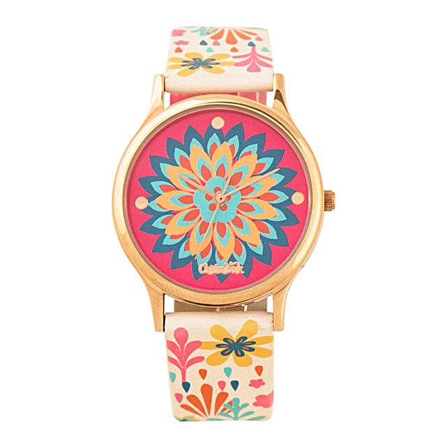 Jungle Burst Wrist Watch With Printed Strap