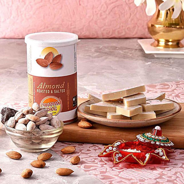 Kaju Burfi & Roasted Almonds With Teeka
