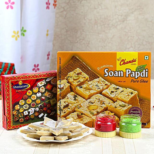 Kaju Sweets And Soan Papdi Combo With Holi Colors