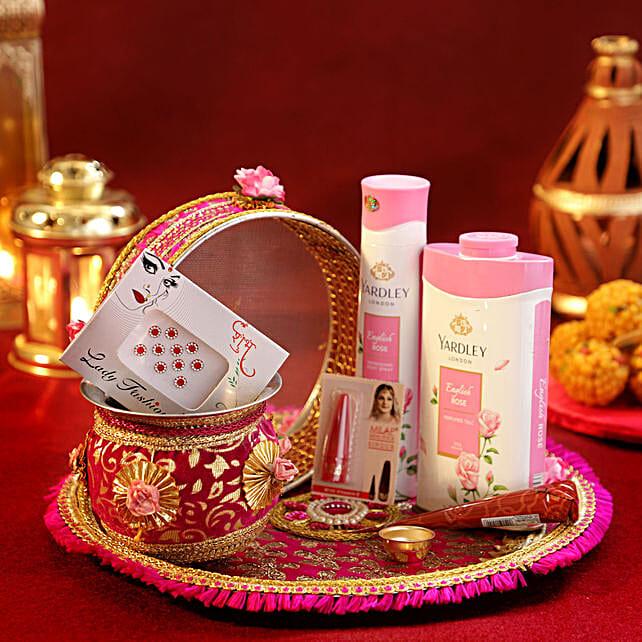Karwa Chauth Pink Thali Set Shringar