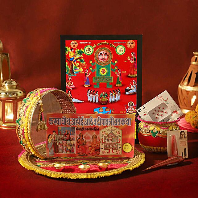 Karwa Chauth Special Zardosi Red Thali Set