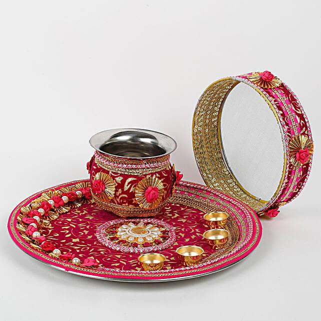 decorative karwa chauth pooja thali