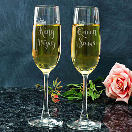 King & Queen Personalised Champagne Glasses Online:Send Personalised Wine Glasses
