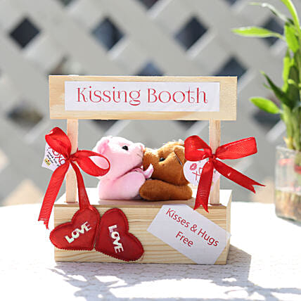 Kissing Booth With Heart Tag For Kiss Day:Send Valentines Day Soft toys