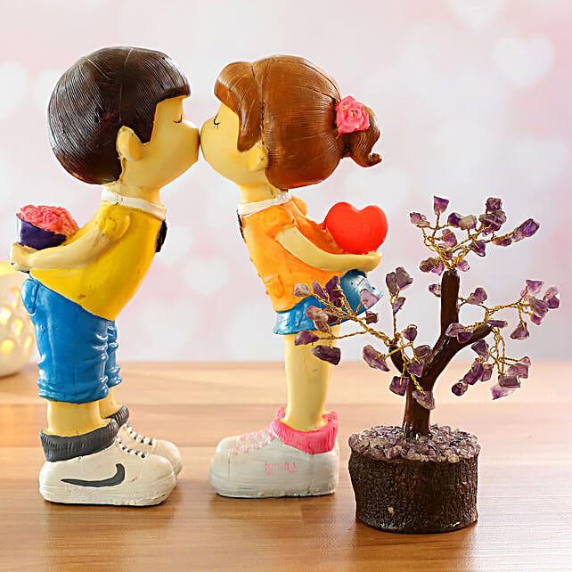 Kissing Couple Figurine And Amethyst Wish Tree