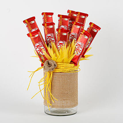 attractive vase fill with chocolate