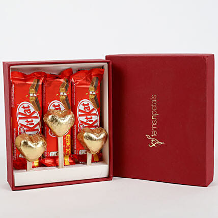 Kit-Kat & Handmade Chocolate in FNP Gift Box:Heart Shaped Gifts