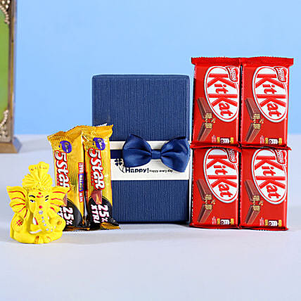 Kitkat Dairy Milk With Blue Bow Diwali Box