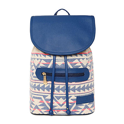 designer royal blue jacquard backpack online