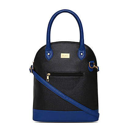 Online KLEIO Ladies Designer Fashion Handbag Satchel Shoulder Bag Purse for Women Girls   (Black,Royal Blue) (HO9001KL-BLRB)