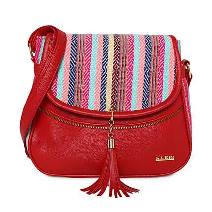 Online KLEIO Stylish Jacquard PU Leather Side Cross Body Sling Handbag Purse For Women Girls Ladies