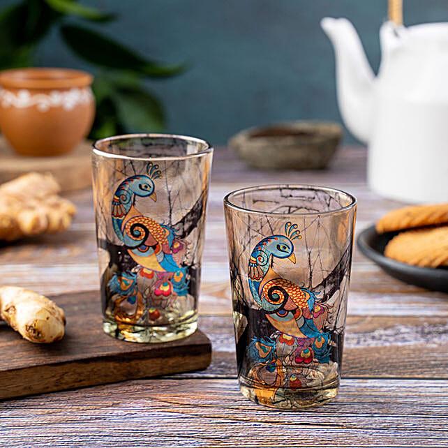 Kolorobia Charismatic Peacock Chai Glass Set Of 2