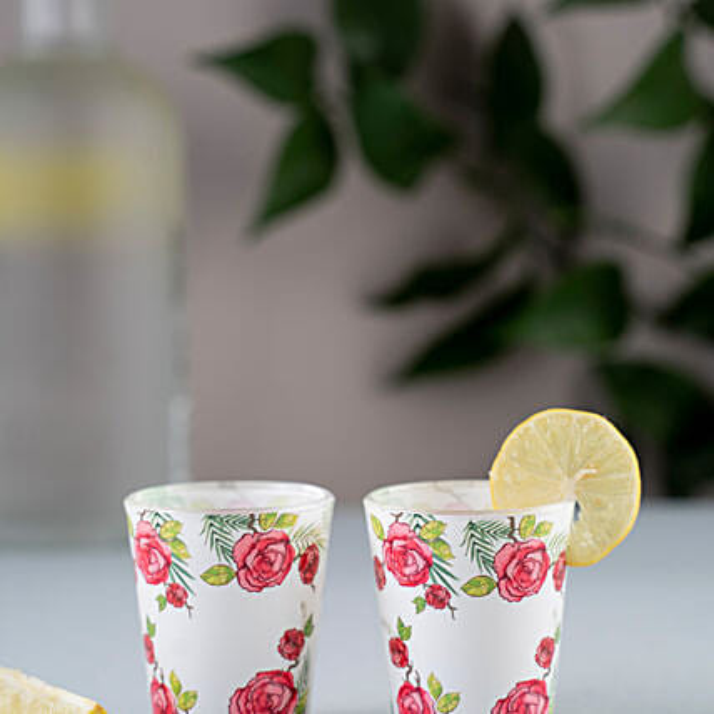 Kolorobia Rose Print Shot Glass Set Of 2