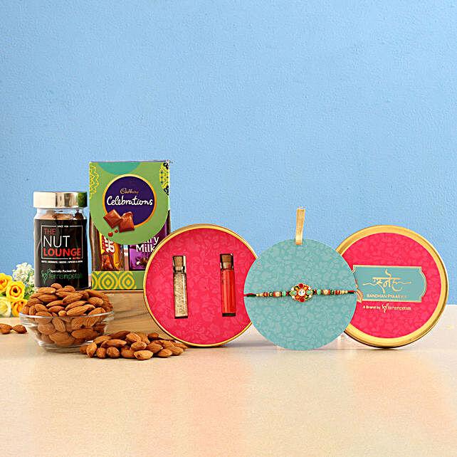 Kundan Rakhi & Almonds Jar