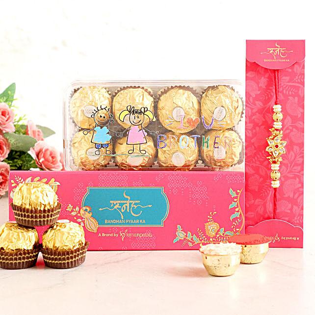 Kundan Rakhi and Rakshabandhan Special Ferrero Rocher Box