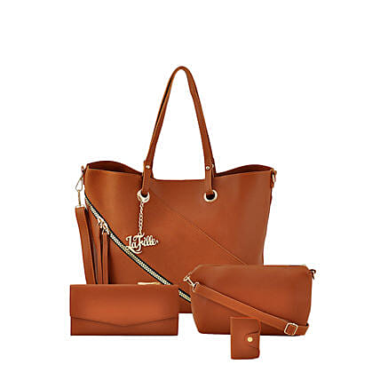 Online Brown Swanky Hand Bag Set:Buy Handbags