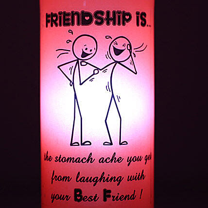 Laughing With Friends Lamp-red coloured friendship bottle lamp