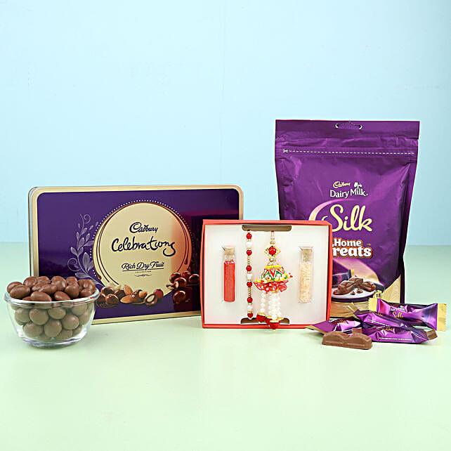 pearl n lumba rakhi set with chocolate combo online