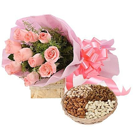 Mix dry fruits with flower bouquet:Flowers & Dry Fruits