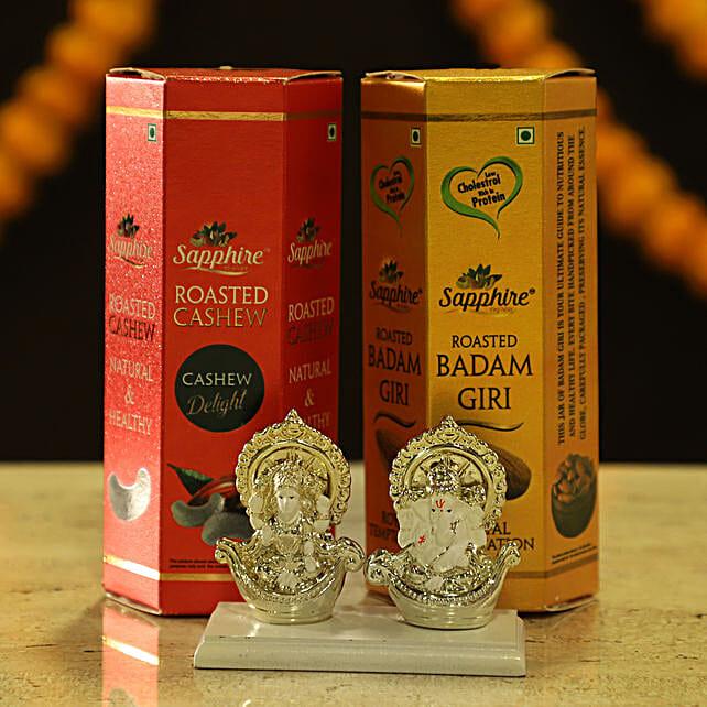 Online Laxmi Ganesha Idol & Dry Fruits