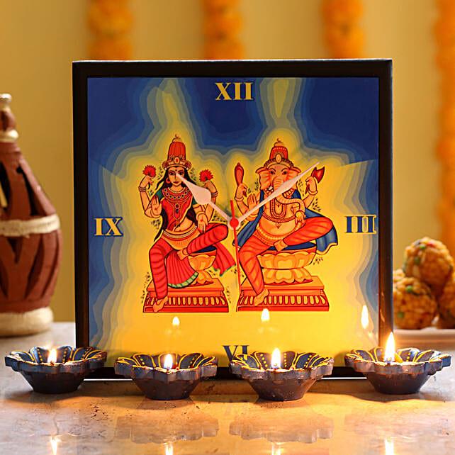 diwali god printed clock with diya online