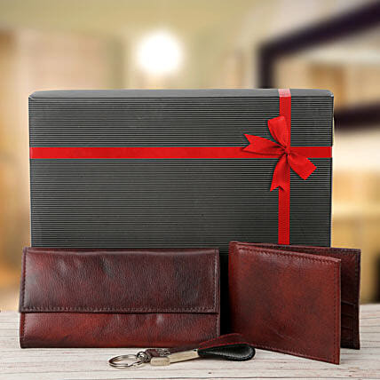 Combo of brown ladies wallet, gents wallet and keyring:Send Leather Gifts