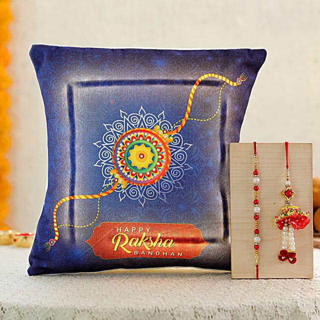 lumba rakhi set with led cushion online
